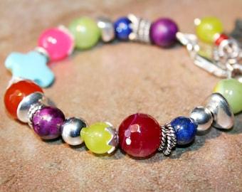 PUNCH Jade, Turquoise, Lapis, Quartz and Sterling Bracelet