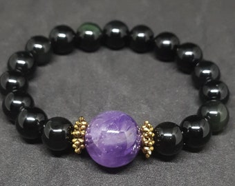 Amethyst with Black Obsidian Bracelet