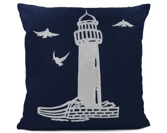 """New Fabric - Lighthouse - Nautical Embroidered Pillow Cover - Fits 18""""x18"""" Insert - Navy - Beach / Lake / Nursery Decor (READY TO SHIP)"""