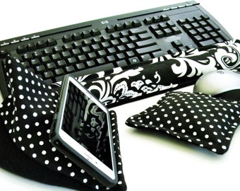 Keyboard Pad Mouse Pad, Ergonomic Wrist Rest Heat Pack, Support Wrists while Typing, Desk Accessory Cell Phone Stand Phone Holder Desk