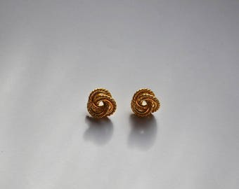 Vintage 70s Gold Knot Stud Earrings