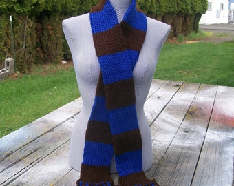 Knitted Blue and Brown Striped Long Scarf Potter Ready to Ship
