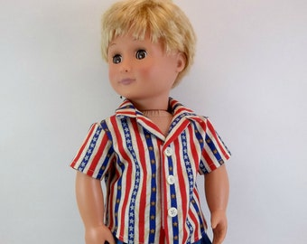 18 inch Boy Doll Shirt Short Sleeved Stars and Stripes Shirt Fits American Girl Doll Clothing Toys