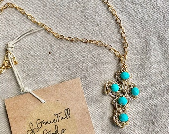Hand Crocheted Wire with turquoise czech glass beads Cross Pendant Gold Necklace
