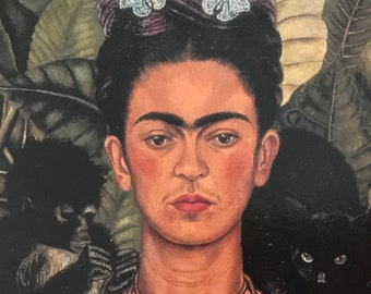 Frida Kahlo-Frida-Art-Self-Portrait-Necklace of Thorns-Monkey-Cat-Vintage-Postcard-Mexico-Home decor-Wall Art