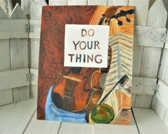 Vintage painting still life violin musical instrument with message on canvas- free shipping US
