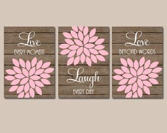 Pink Brown Nursery Wall Art, CANVAS or Prints Live Laugh Love, Baby Girl Nursery Decor, Flower Burst Set of 3 Faux Wood Planks, Bedroom Art