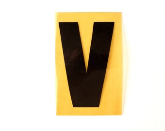"Vintage Industrial Marquee Sign Letter ""V"", Black on Yellow Flexible Plastic (7 inches tall) - Industrial Decor, Art Assemblage Supply"