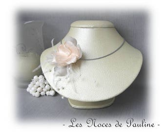 Wedding peach gray white Camellia textile necklace