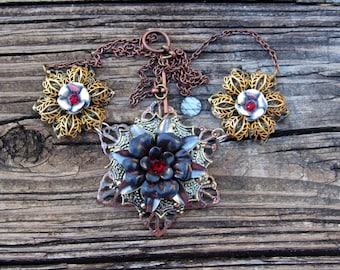 Mixed Metal FLower Necklace, Steampunk Flower Necklace