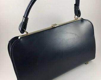 Vintage Ladies' Navy Blue Purse or Handbag with Short Handle