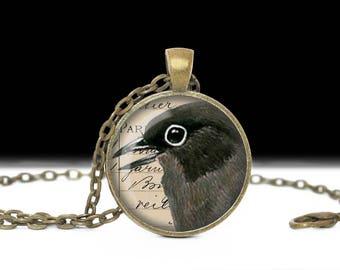 Black Bird Jewelry, Bird Pendant. Wearable Art Bird Pendant, Bird on Book Page Necklace, Bird Necklace, Bird Gift