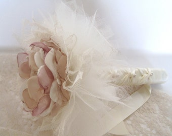 Single Flower Brooch Bouquet Bridesmaids Flower Girls Toss Away with Ivory Lace Tulle and Pearl and Rhinestone Accent...Custom Made