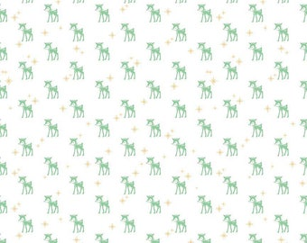Lori Holt Christmas Fabric By The Yard Reindeer Fabric, Gold Star Riley Blake Designs Kids Quilting Fabric Christmas Decoration, Fat Quarter