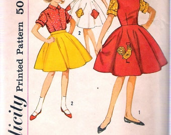 Vintage 1962 Simplicity 4537 Girl's One Piece Dress or Jumper, Blouse and Skirt Transfer Included Sewing Pattern Size 7 Breast 25""