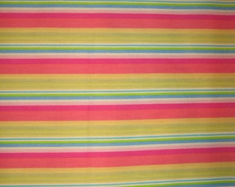 Yellow Coral Pink Blue Green White Stripe fabric 1 yard