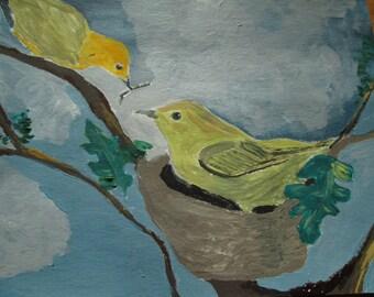 Warblers under gray sky
