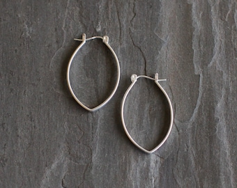 """Small modern silver earrings with a pointy hoop like lightweight design for everyday wear or casual occasion - """"Small Porter Hoops"""""""