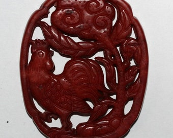 Big Red Red Jade Pendant 68x55mm