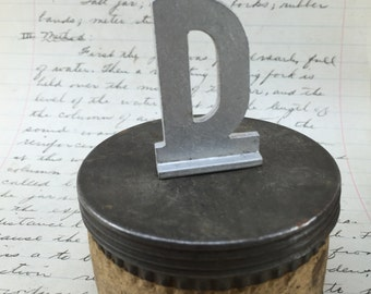 Vintage small aluminum letter D  – salvaged aluminum address letter – old metal letter – house letter – sign letter – silver metal letter