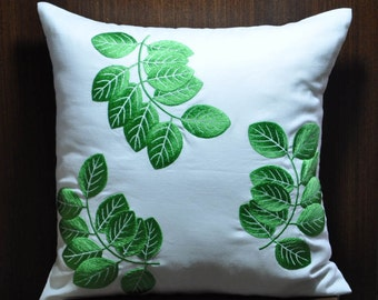 Green Leaves Pillow Cover, Decorative Throw Pillow Cover, Couch Pillow, White Linen, Green Leaves, Home Decor, Embroidered Cushion Cover