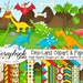 DINO-LAND! Clipart & Papers Kit, 21 png Clipart files, 21 jpeg Paper files, Instant Download dinosaur jurrasic volcano t-rex stegosaurus