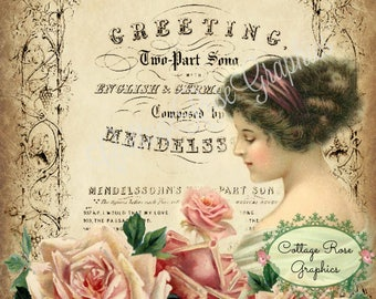 Vintage Greeting lady pink roses old music typography digital download cottage chic Buy 3 get one FREE