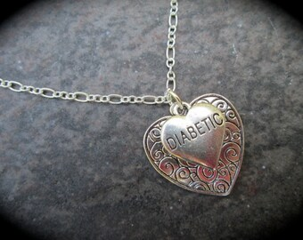 "Diabetic Heart Charm necklace with reversible scroll design Heart charm 16"" 18"" 24"" chain Diabetes Awareness necklace"