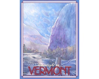 Moonlight in Vermont Travel Poster