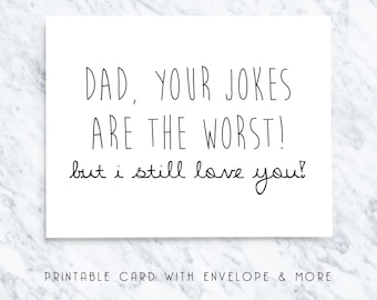 printable fathers day card, digital fathers day card, funny dad card, card for dad, dad jokes cards