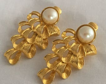 Authentic Givenchy Signed Paris New York Couture Faux Pearl Drapes Ribbon Tiered Beautiful Golden Designer Earrings Clip On