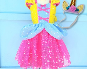 UNICORN dress girls, UNICORN costume, baby  Unicorn princess dress,  toddler girls costume, Halloween costume, sparkle princess dress