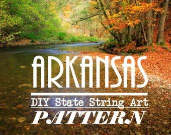 "Arkansas - DIY State String Art Pattern - 8"" x 10"" - Hearts & Stars included"