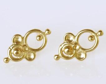 Indian Earrings, Gold Post Earrings, 14k Gold Earrings, Everyday Earrings, Tiny Earrings, Small Earrings, Tribal Earrings, 14k Earrings