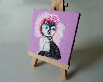 Cat painting, Small canvas painting, Whimsical Cat, Desk Art, Black and white cat, Mini painting with easel,