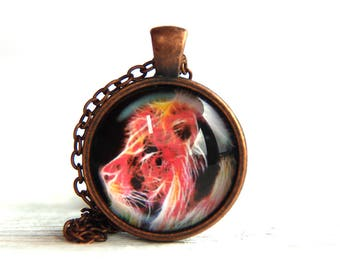 Lion pendant, lion necklace, lion jewelry, neon Animals, neon lion, nature necklace, lion charm, animal jewelry, psychedelic necklace, leo