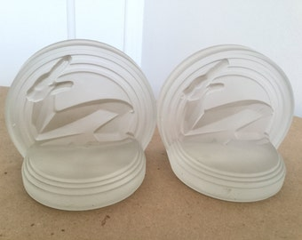 Modern Art Deco Style Frosted Glass Deer Bookends Streamline Moderne