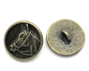 """6 Bronze Metal ROUND HORSE HEAD Circle Shank Buttons, 5/8"""" diameter, for Jewelry Making, Scrapbooking, Sewing  but0030"""