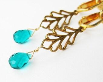 Aqua Teardrop Gold Leaf Clip On Earrings, Light Teal Faceted Quartz Drop, Golden Brass Leaves Clip Earrings Non Pierced Ears, Mariana Aqua