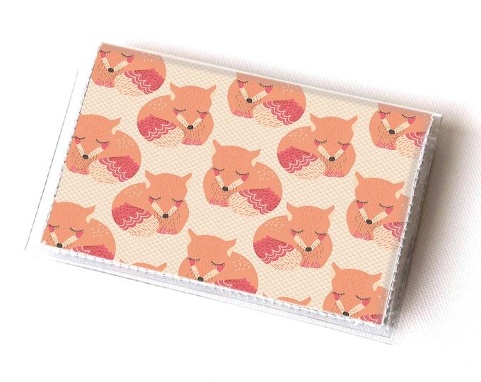 Handmade Vinyl Card Holder - Sleepy Fox  / card case, vinyl wallet, women's wallet, small wallet, pretty, gift, cute, fox, woodland