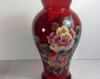 Vintage hand painted cranberry red tinted glass vase. Excellent. Free ship to us
