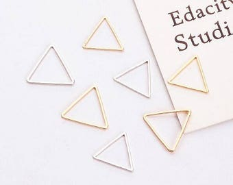 10PCS Simple Triangle Charms Geometric Charm Real Gold Plated Craft Supplies DIY Finding