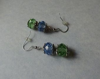 Blue and Green Austrian Crystal Earrings (E10)