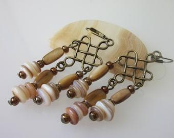 Shell Earrings, Natural Shell, Mother of Pearl, Sea Shell Earrings, Chandelier Earrings, Bohemian Gypsy, Bohemian Jewelry