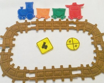 Train felt set  includes 12 pieces great for quiet books or busy bags #3838