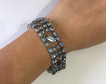 Blue Rhinestones Bracelet - Bridal Jewelry - Vintage Rhinestones