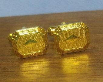 Small Bright Yellow Goldtone Cuff Links Cufflinks