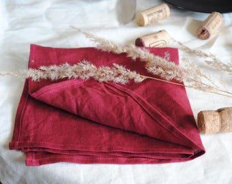 Linen Table Napkins, Set of 2, 100% Linen, Dark Red