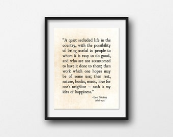 Life Quote Happiness Quote, Leo Tolstoy, Inspirational Quote, Literary Quote,  Large Wall Art Typography Print, Poetry Art