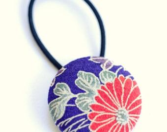 Traditional Chrysanthemum Fabric Button Hair Tie - Kimono Fabric